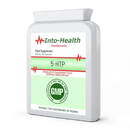 5-HTP 200mg x 90 Capsules; Extra Strength Supplement; Into-Health